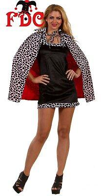 Cruella Deville Cruella De Vil Cloak with Collar Cape Dalmatian Print Short 27