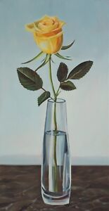 Single Yellow Rose Original Oil Painting-Studio Sale!!
