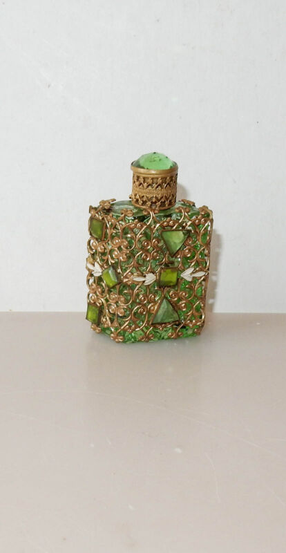 Antique Czech Glass Perfume Bottle Mini Lime Green Parallelogram Filigree