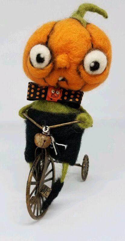 Handmade Needle Felted Wool Halloween Pumpkin Boy on Bicycle Decor Doll Figure