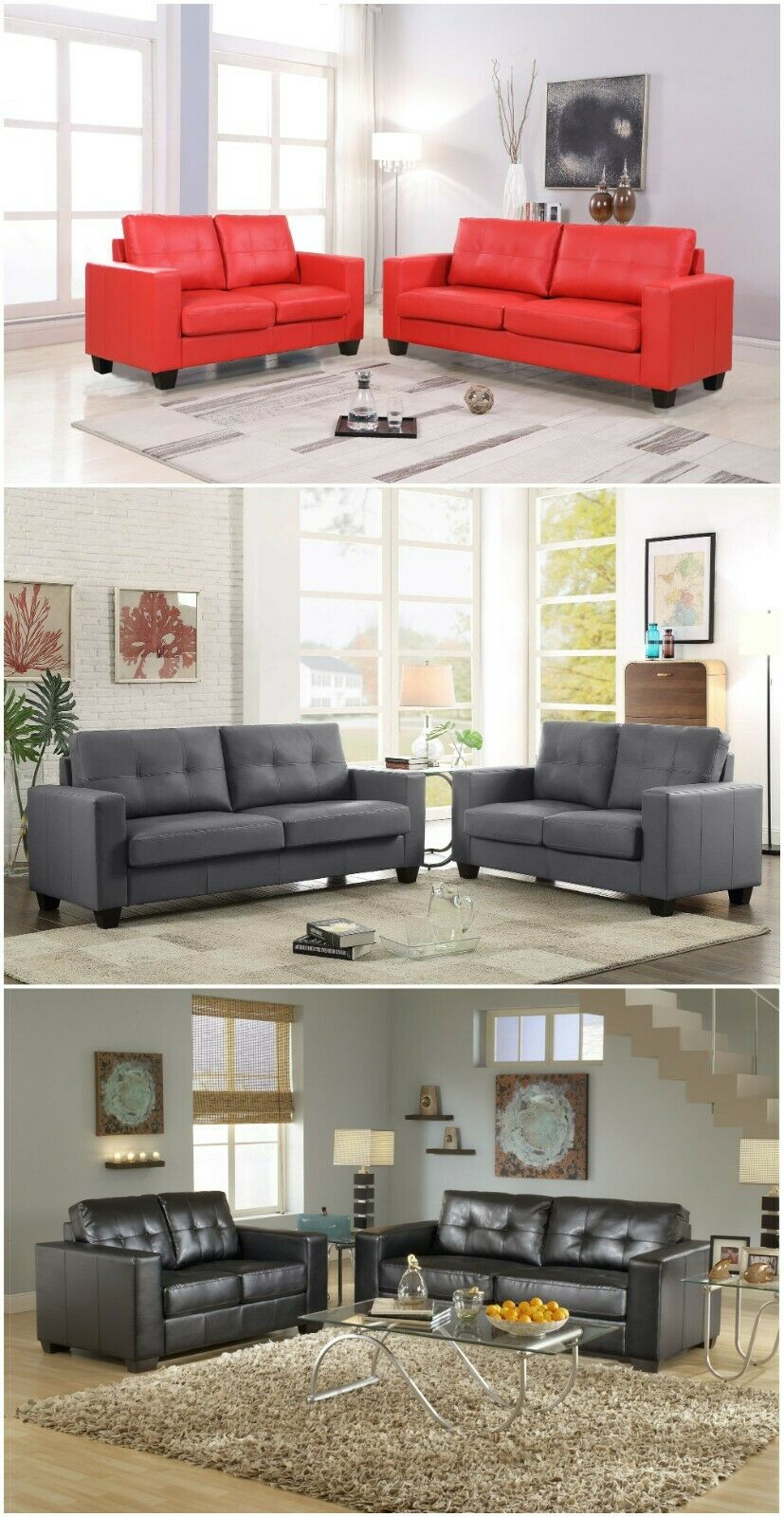 2Pc Contemporary Modern Pu-Leather Sofa and Loveseat Living