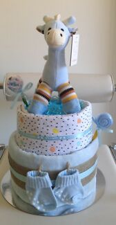 Blue/pink giraffe nappy cake with lollipops**delivery for $10 only