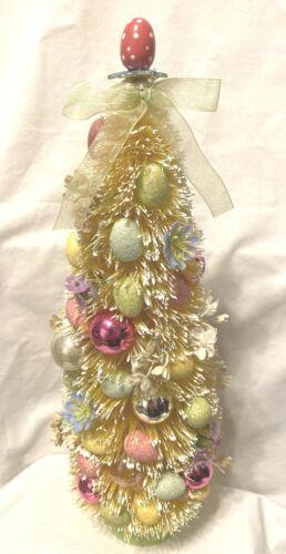"""Vintage Style Bottle Brush Easter Tree 13"""" tall glitter eggs sparkle"""