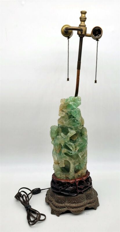 ThriftCHI ~ Chinese Carved Jade Quartz Lamp w Ornate Base #2
