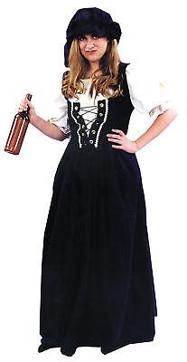 Renaissance Female Black Cotton Vest Costume Fancy Dress Trick Or Treat Studios