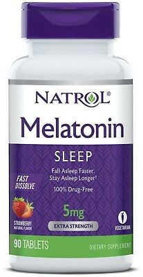 Natrol Fast Dissolve Melatonin 5 mg Tablets Strawberry 90 ea