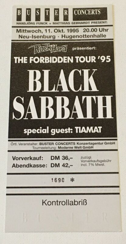 Black Sabbath 1995 Forbidden Concert Ticket Unused Germany