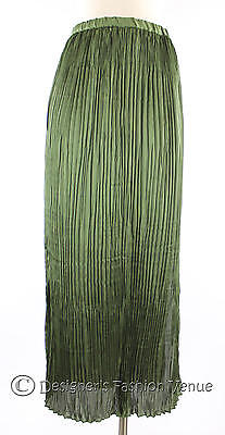NWT $119.95 Coldwater Creek Crinkle Maxi Skirt Size S 8 Women Green Side Slit