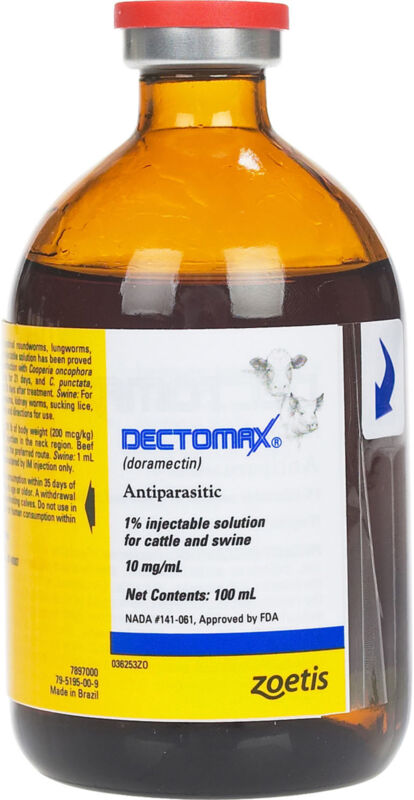 Dectomax Injectable 1% for Cattle Swine 100ml Wormer