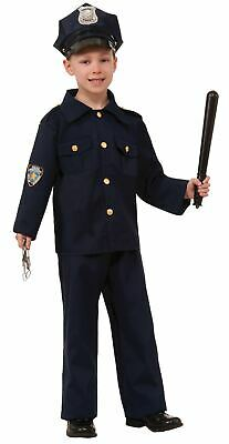 Boy Cop Costume (POLICE BOY blue cop officer unifrom boys kids navy costume halloween MEDIUM)