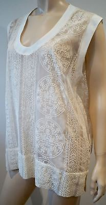 HOTEL PARTICULIER Italy Cream Sheer Cotton Embroidery Silk Trim Sleeveless Top S