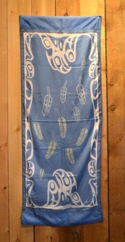 Fabric Northwest Coast Native Eagle Feathers Banner Val Malesku