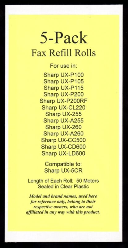 5-pack of UX-5CR Fax Refills for Sharp UX-P100 UX-P105 UX-P115 UX-P200 UX-P200RF