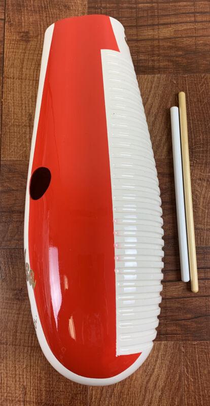 Salsa Guiro-Fiberglass Painted With Peru 🇵🇪 Flag.— 2 Playing Sticks