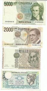 L.5000 1985- L.2000 1990 – L.1000 1982 FDS – L.500 1979 - Italia - L.5000 1985- L.2000 1990 – L.1000 1982 FDS – L.500 1979 - Italia