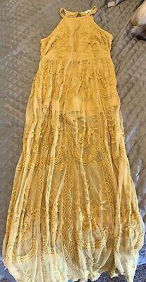 Honey Belle Long Boho Dress / Shorts. Play suit L (UK 10). Mustard Lace Floral.