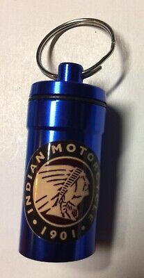 Indian Motorcycle Motif Pill Box/Key Chain ~ Aluminum SHIPS FREE!