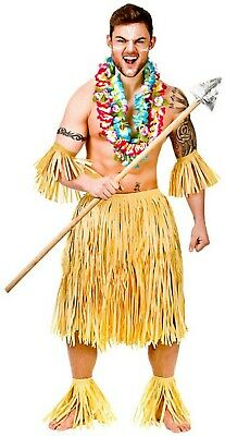 ZULU WARRIOR COSTUME SET MENS HAWAIIAN FANCY DRESS TRIBAL BEACH PARTY  LUAU