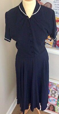 True Vintage 1940s Swing Dress Goodwood Revival Wedding Party Jitterbug