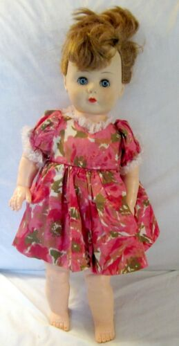 Vintage Sleep Eyes Rubber Doll Non Working Voice Box Rooted Saran Hair 16 Inches