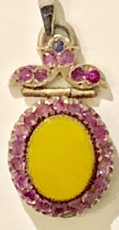 19th Century Yellow Inscribed  Pendant  studded with Garnet, Lucknow,India,Rare