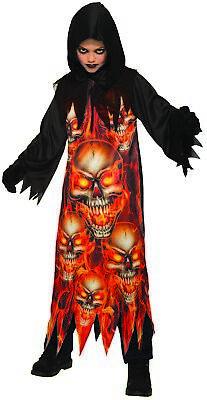 loween Costume Hooded Black Robe Child Flaming Skulls SM-LG (Skull Kid Costume)