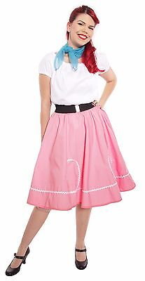 50s Style Pink & White Ric Rac Circle Skirt - Party, Sock Hop, Swing - S to XL - Sock Hop Fashion