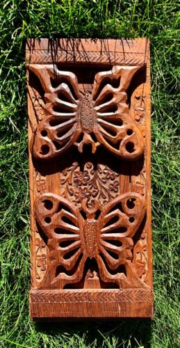 Hand Carved Wood BOOK HOLDER from INDIA w/ Butterfly Side Panels Expandable
