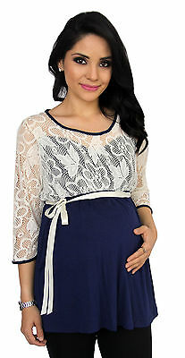 Navy Lace Maternity Long Sleeve 3/4 Sleeve Maternity Pregnancy Top  S M L XL