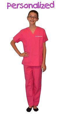 Personalized Pink Kids Scrubs for little Doctors, Nurses, and Veterinarians](Personalized Scrubs For Kids)