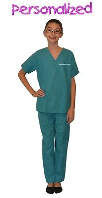 Personalized Teal Green Kids Scrubs for little Doctors, Nurses, & Veterinarians](Personalized Scrubs For Kids)