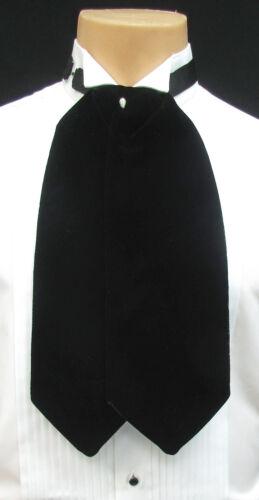 Black Velvet Cravat with Tie Pin Pre-Tied Ascot Necktie Victorian Wedding