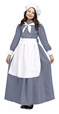 Pilgrim Costume For Girls (Girls Pilgrim Costume Settler Thanksgiving Nativity Fancy Dress Kids Child S M)