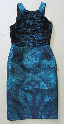 VERSACE blue/black metallic sheath dress SZ 38/xs