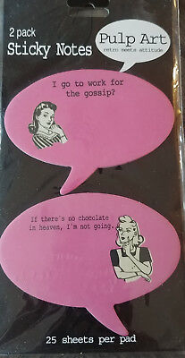 Pulp Art Sticky Notes Speech Balloons retro meets attitude Graphic PINK LADIES