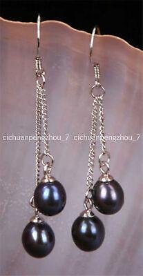 Pretty! 6-7mm Black Akoya Freshwater Pearl Drop Dangle Silver Hook Earrings