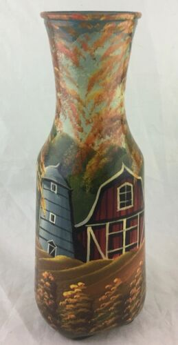 HAND PAINTED RED BARN HOUSE COTTAGE SCENIC DECORATIVE GLASS BOTTLE VASE SIGNED