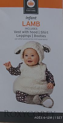 Infant Lamb Costume (Halloween Infant Lamb Costume Vest w/hood Shirt Leggings Booties Sz 6-12)