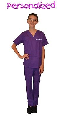 Personalized Purple Kids Scrubs for little Doctors, Nurses, and Veterinarians](Personalized Scrubs For Kids)