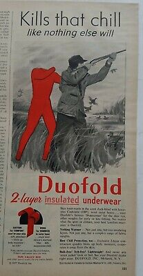 1957 mens red Duofold 2 layer insulated underwear hunter hunting gun vintage ad