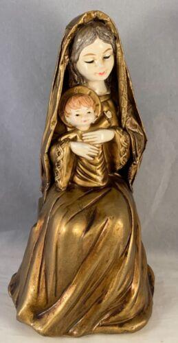 Vintage Christmas Made in Japan Composite Paper Mache Madonna Child Gold Schmid