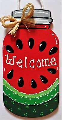 Mason Jar Art (WATERMELON MASON JAR SIGN Wall Art Door Hanger Plaque Country Summer Decor)