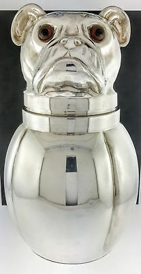 Vintage 1970s Italy Silver Plated Dog Pug Wine Cooler Ice Bucket