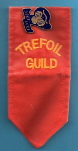 GIRL GUIDE TREFOIL GUILD BADGE & 1910 & 1985 GILT BRASS & ENAMEL BADGE