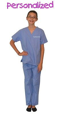Personalized Ceil Blue Kids Scrubs for little Doctors, Nurses, & Veterinarians](Personalized Scrubs For Kids)