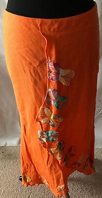 Asymmetrische Baumwolle Rock (PARAGUAY top erfrischend oranger Rock mit Stickerei Gr M Baumwolle asymmetrisch)