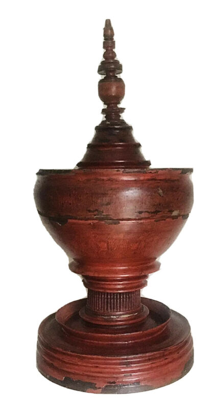 Antique Burmese/Thai Red and Black Lacquered Wood Temple Offering Vessel, Bowl