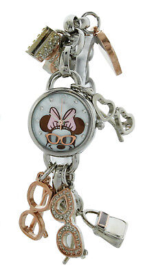 Disney Women's Minnie Mouse Charm Bracelet Watch Silver Tone
