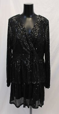Boohoo Women's Plus Sequin Plunge Tiered Skater Dress SG8 Black Size US:16 NWT