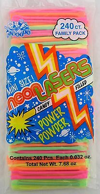 Albert's Neon Lasers 240 Count Powder Candy Straws Pixy Stix Bulk Sugar Alberts
